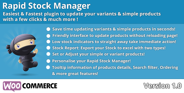 woocommerce rapid stock manager, update your stock with woocommerce module. Update your variants and simple products in a few clicks!